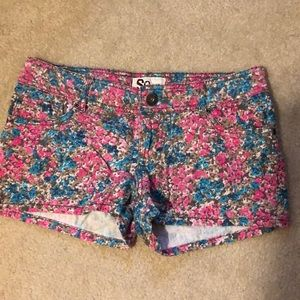 SO Hot Pink Teal Green Floral Jean Shorts 7